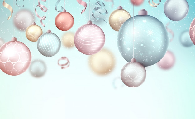 Merry christmas achtergrond met hangende kerstballen