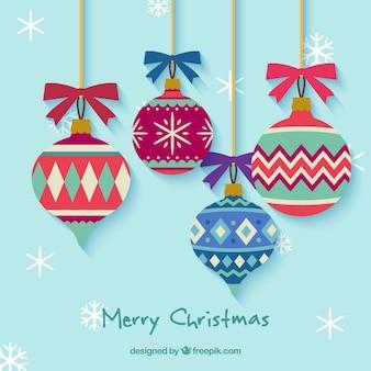 Merry christmas achtergrond met kerstballen