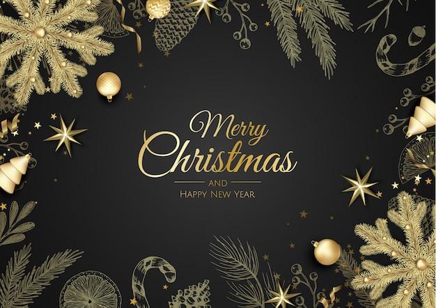Merry christmas-achtergrond met kerstmiselement.