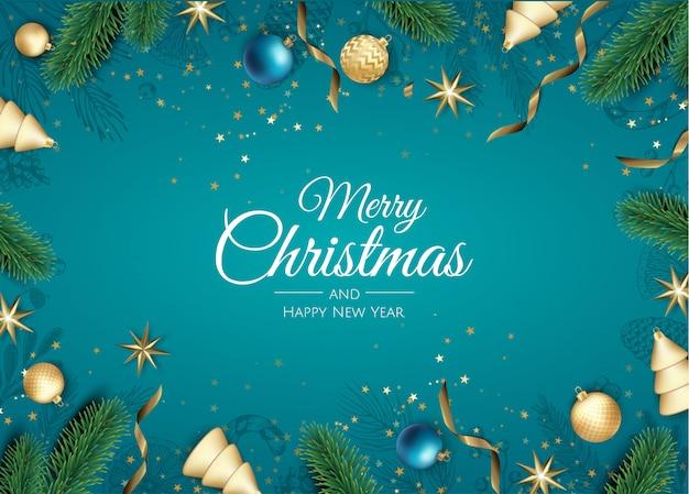 Merry christmas-achtergrond met kerstmisornamenten