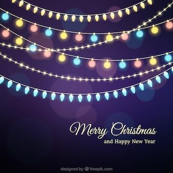 Merry christmas achtergrond met kleurrijke bollen