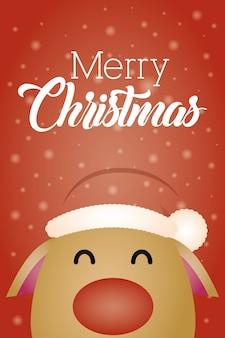 Merry christmas-achtergrond met leuk rendierkarakter