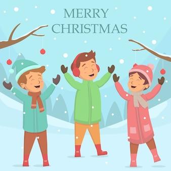 Merry christmas achtergrond met schattige kinderen illustratie