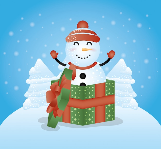 Merry christmas achtergrond met schattige sneeuwpop karakter