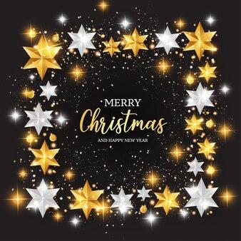 Merry christmas achtergrond met sterren frame