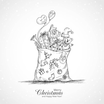 Merry christmas achtergrond met zak vol geschenken
