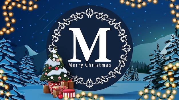 Merry christmas, ansichtkaart met rond logo, slinger, kerstboom in een pot met geschenken en winterlandschap