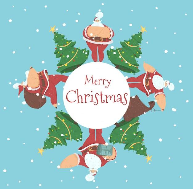 Merry christmas ansichtkaart santa