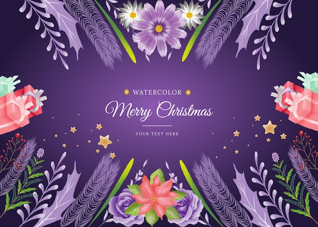 Merry christmas aquarel bloemen achtergrond met minimalistische stijl