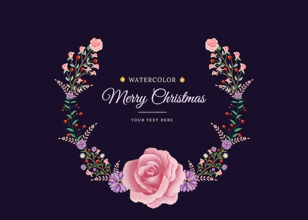 Merry christmas aquarel bloemen frame met minimalistische stijl