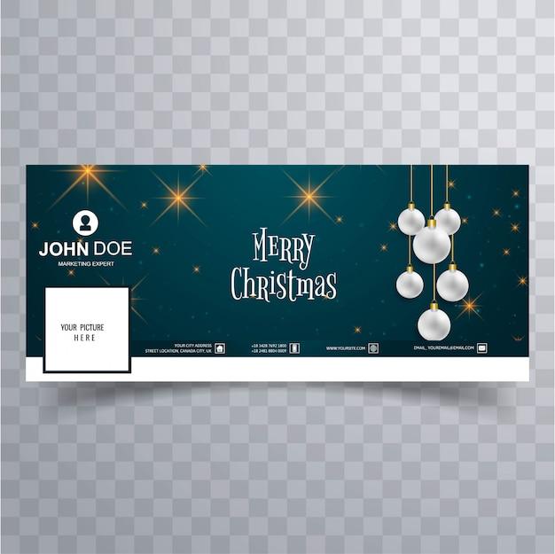 Merry christmas bal facebook banner sjabloon achtergrond