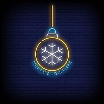 Merry christmas ball neon teken