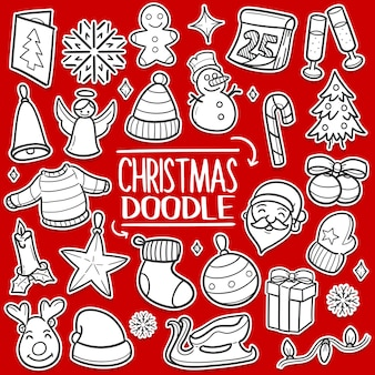 Merry christmas banner briefkaart doodle ontwerp stickers