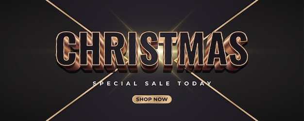 Merry christmas-banner met 3d zwarte en gouden cijfers op donkere elegante achtergrond