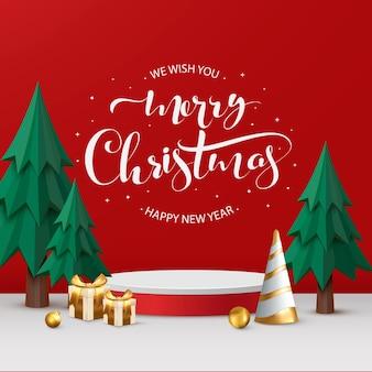 Merry christmas-banner met cilindrische vorm van productweergave