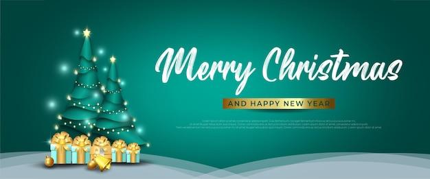 Merry christmas banner met kerstboom en geschenkdoos op groene achtergrond