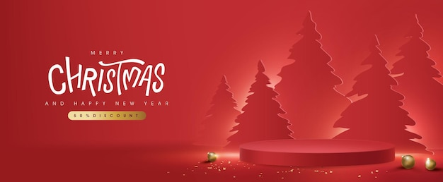 Merry christmas banner met productdisplay cilindrische vorm en kerstboom papier gesneden stijl