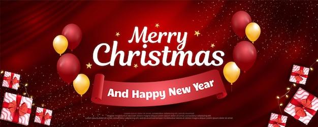 Merry christmas-banner met realistisch cadeau-ontwerp