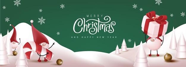 Merry christmas banner met schattige kabouter en feestelijke decoratie voor kerstmis