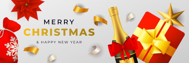 Merry christmas banner ontwerp met champagne en geschenkdoos