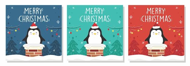 Merry christmas banner penguin in schoorsteen