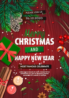 Merry christmas banner, xmas party poster