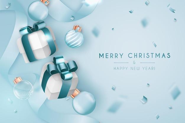 Merry christmas-bannerachtergrond met realistische elementen