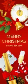 Merry christmas bannerontwerp met realistische objecten Gratis Vector