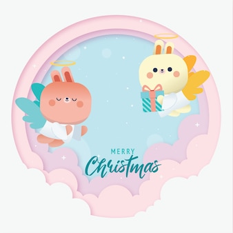 Merry christmas begroeting achtergrond met schattige cupido konijn