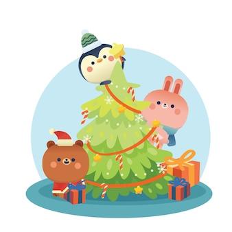 Merry christmas begroeting achtergrond met schattige dieren