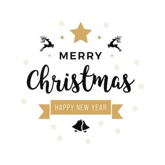 Merry christmas begroeting tekst ornamenten witte achtergrond
