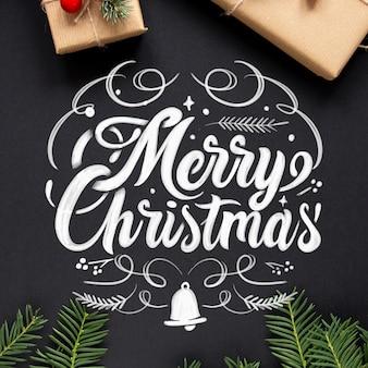 Merry christmas belettering achtergrond