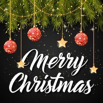 Merry christmas belettering en kerstballen
