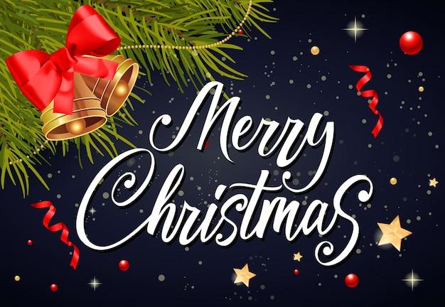 Merry christmas belettering en klokken
