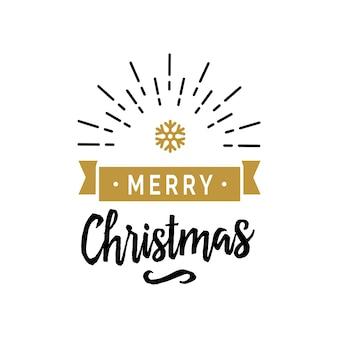Merry christmas belettering en sneeuwvlok