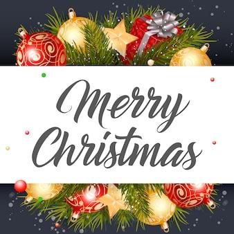 Merry christmas belettering, geschenk en sterren