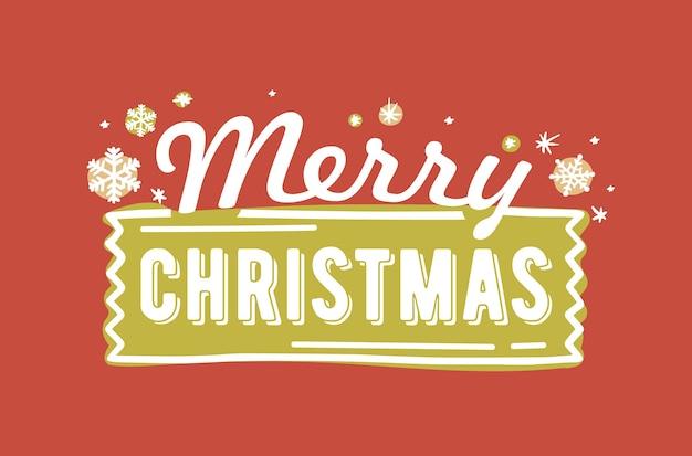 Merry christmas belettering geschreven met elegante kalligrafische lettertype
