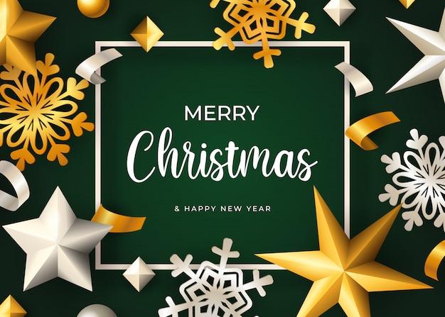 Merry christmas belettering, gouden sneeuwvlokken en sterren