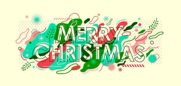 Merry christmas belettering in abstracte stijl.