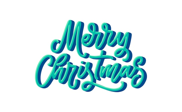 Merry christmas belettering in de hand getekend