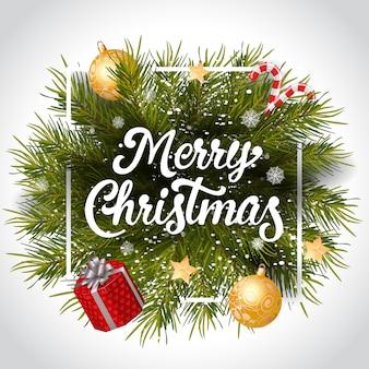 Merry christmas belettering in frame