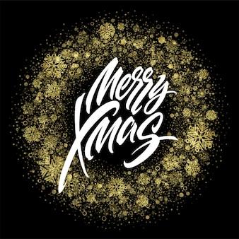 Merry christmas belettering in glitter frame. xmas confetti, gouden stof en sneeuwvlokken rond frame. merry christmas-groet geïsoleerd op zwarte achtergrond. ansichtkaart ontwerp. vector illustratie