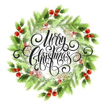 Merry christmas belettering in maretak krans. kerst ronde frame met sneeuw. xmas maretak bessen en spar takken krans. ansichtkaart en poster winter ontwerp. geïsoleerde vectorillustratie