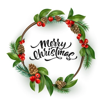 Merry christmas belettering inscriptie in krans