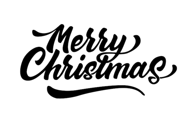 Merry christmas belettering inscriptie