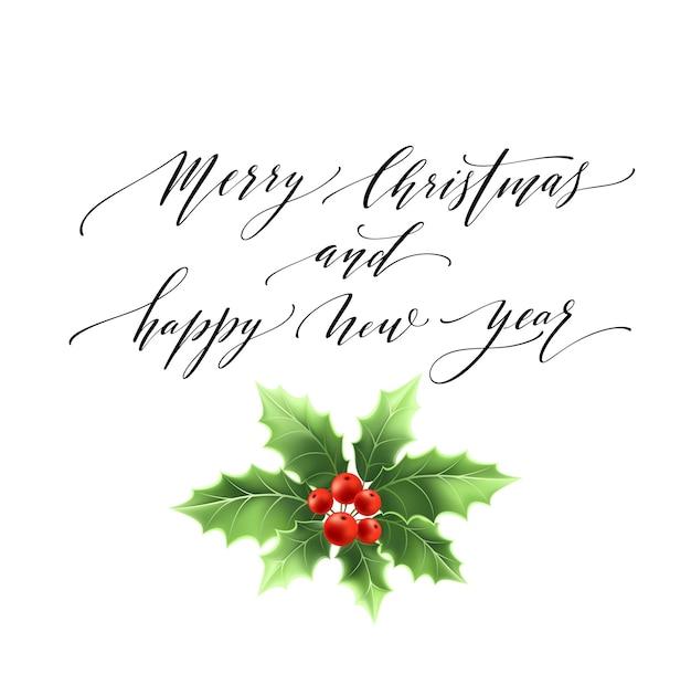 Merry christmas belettering kaart met hulst. vectorillustratie eps 10