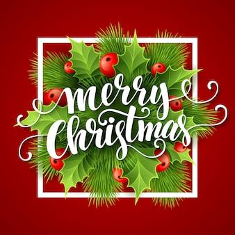 Merry christmas belettering kaart met hulst, wenskaart