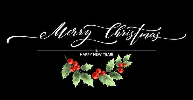 Merry christmas belettering kaart met hulst