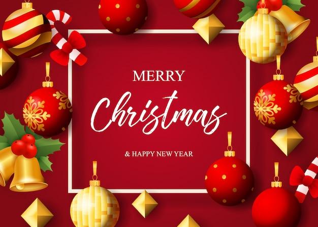 Merry christmas belettering, kerstballen, klokken en maretak