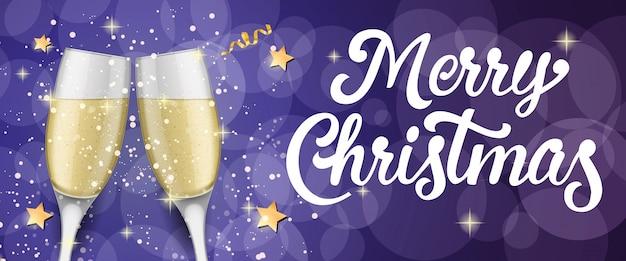 Merry christmas belettering met champagne fluiten Gratis Vector